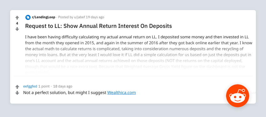 Reddit lendingloop wealthica